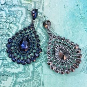 Jewelry - Navy Blue Crystal Chandelier Event Earrings